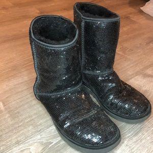 UGG classic short black sequin boots